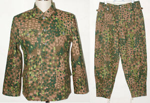 GERMAN-ELITE-LINEN-HBT-DOT-44-M43-FIELD-UNIFORM-TUNIC-amp-TROUSERS-L-31055