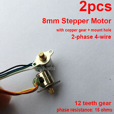2pcs 2-phase 4-wire Micro Mini 8mm Stepping Stepper  Motor Metal Gear Mount Hole