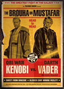 A4 alternative Guerre stellari Poster KENOBI contro Vader (PICTURE Skywalker Yoda Darth)  </span>