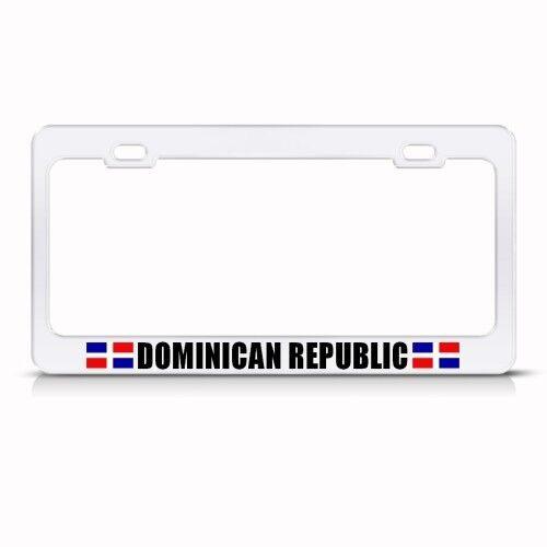DOMINICAN REPUBLIC FLAG WHITE License Plate Frame Tag Holder
