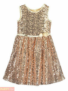 Girls Disney Boutique Belle Sequin Rose Gold Dress Party Beauty And The Beast Ebay