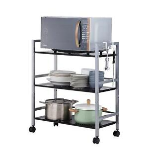 Details About Kitchen Island Cart Microwave Oven Stand Storage Large Rolling Trolley Shelf New