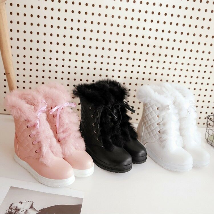 New Women Lace up Warm Fur Ankle Boots Warm Fur Snow Student Casual shoes