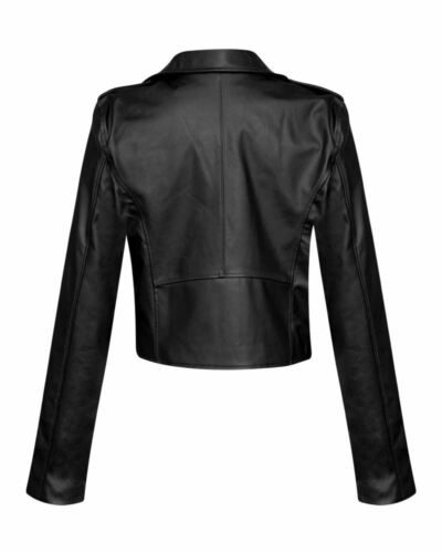 Womens PU Biker Jacket Cropped PVC Leather Outerwear Fashion Pockets Zip Coat