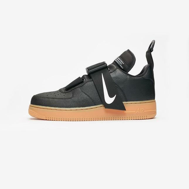 NIKE AIR FORCE 1 UTILITY AO1531 002 BLACK WHITE GUM MED BROWN SOLE-STRAP BUCKLE