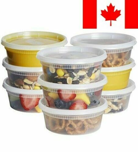 8 oz Micro... 48 Sets Plastic Deli Food Storage Containers with Airtight Lids