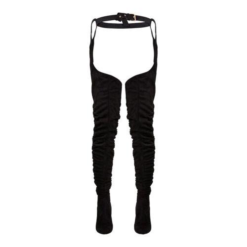 New Women Faux-Suede Thigh High Boots With Belt Block High Heel Zip Elastic Boot