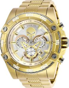 Invicta-26864-Marvel-Punisher-Men-039-s-Chronograph-52mm-Gold-Tone-Silver-Dial-Watch