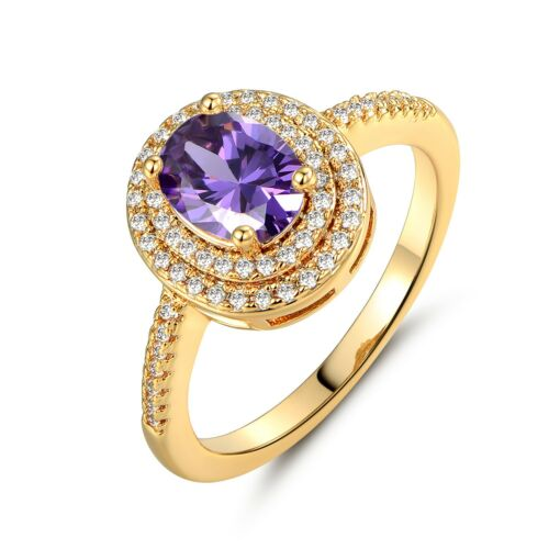 Infinity Women Engagement Jewelry Band Gold Filled Purple Oval Topaz Halo Ring