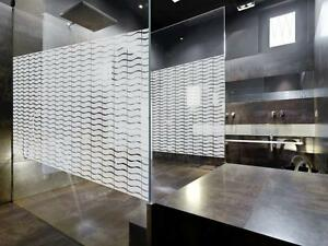 Decorative Wave Patterned Window Film Frosted Vinyl