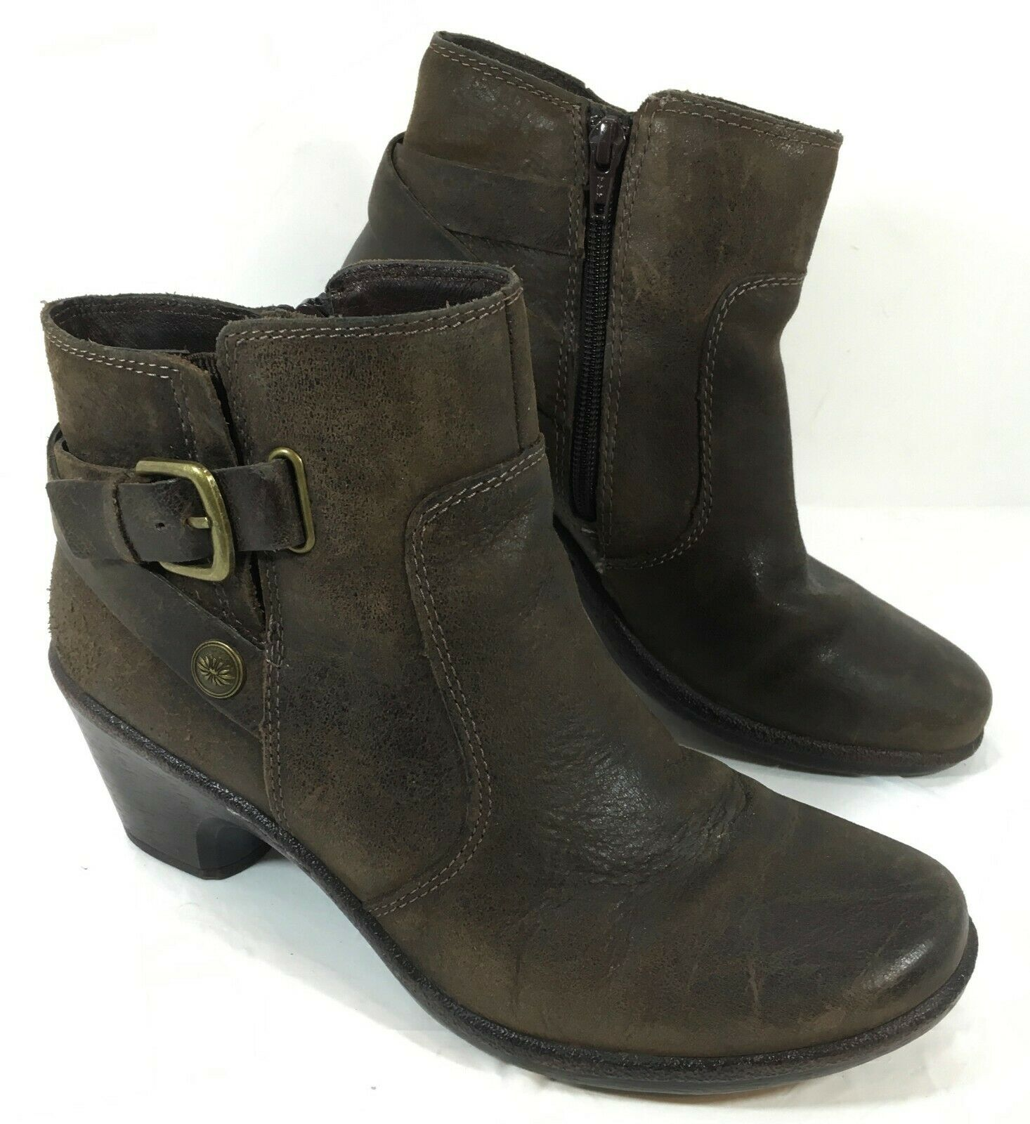 GUC Montana Belted Ankle boots Brown leather Sz 8.5 M