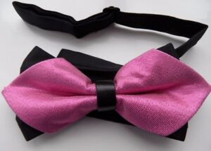 BLACK-SHINY-RASPBERRY-ARISTOCRAT-BOW-KNOT-SHARP-DOUBLE-BOW-TIE-WEDDING-OFFICE