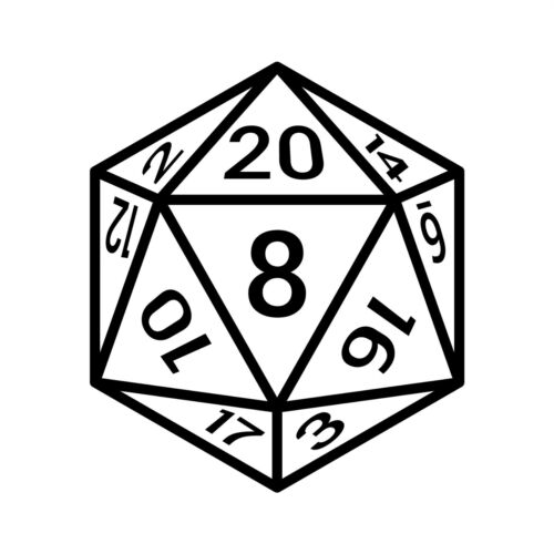 20 Sided Dice vinyl decal sticker D&D Dungeons and Dragons Fantasy Sci-Fi