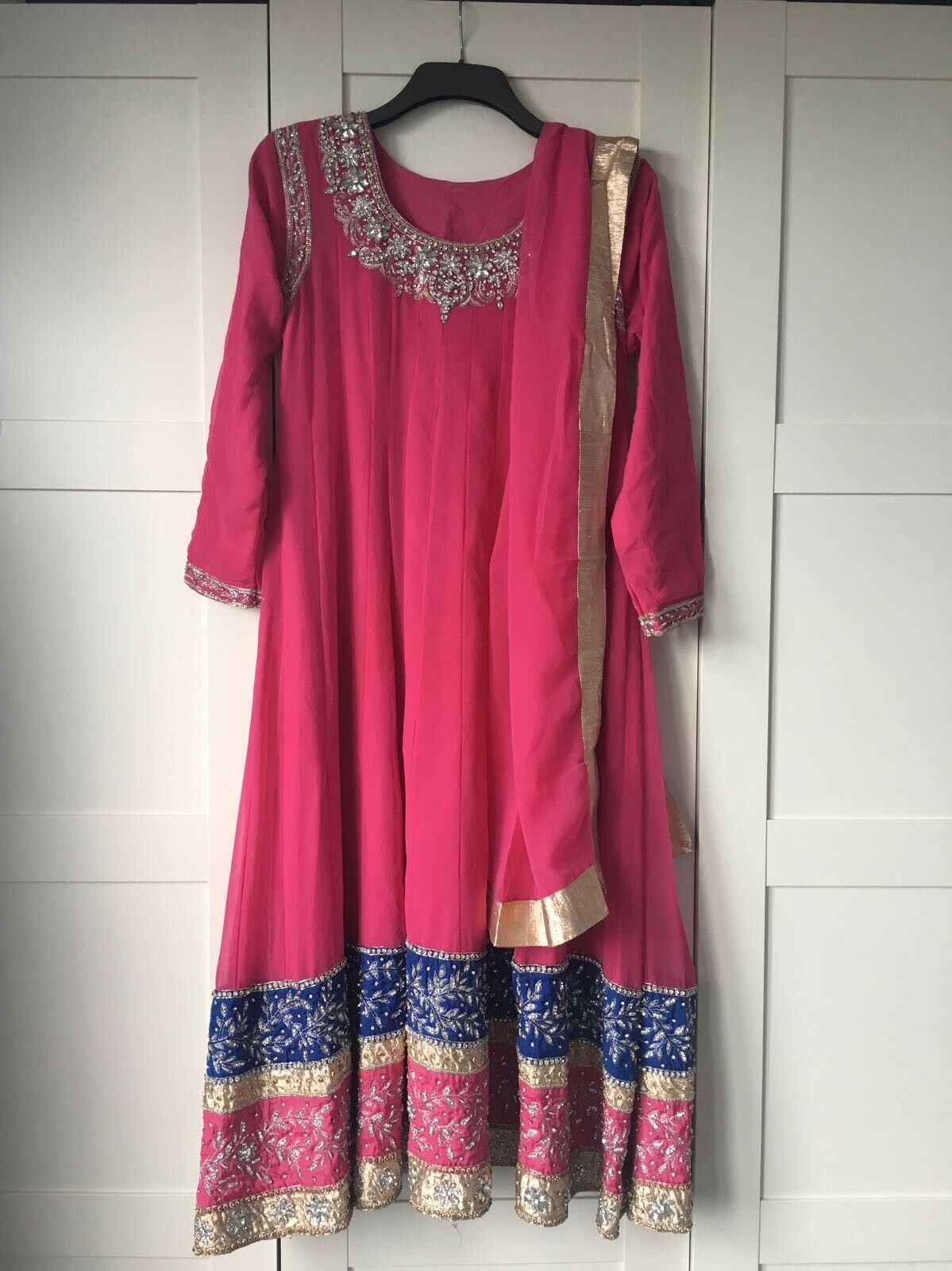 Pink long anarkali style dress size medium