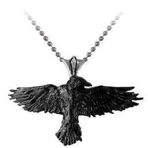 Alchemy Gothic Black Raven Pendant ZFij35