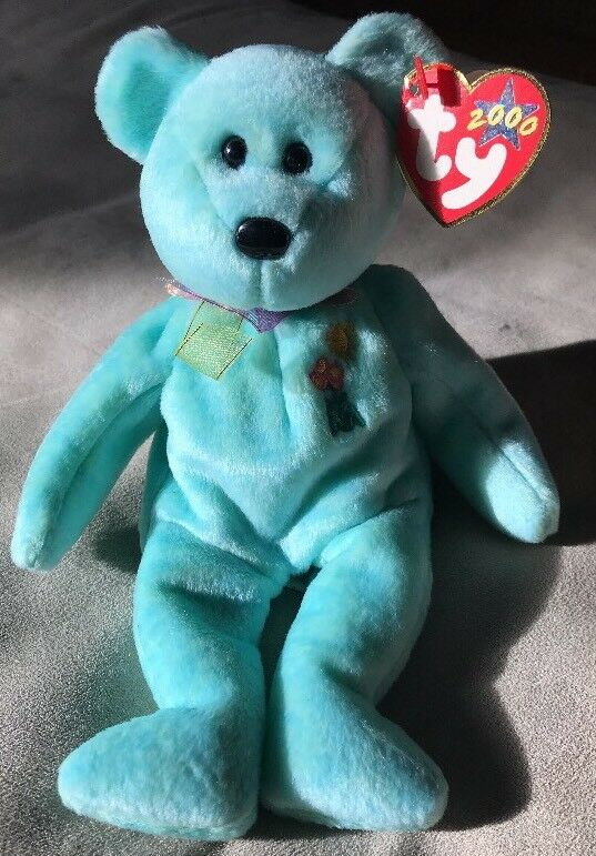 TY Beanie Baby Ariel Bear Green Rare Great Condition