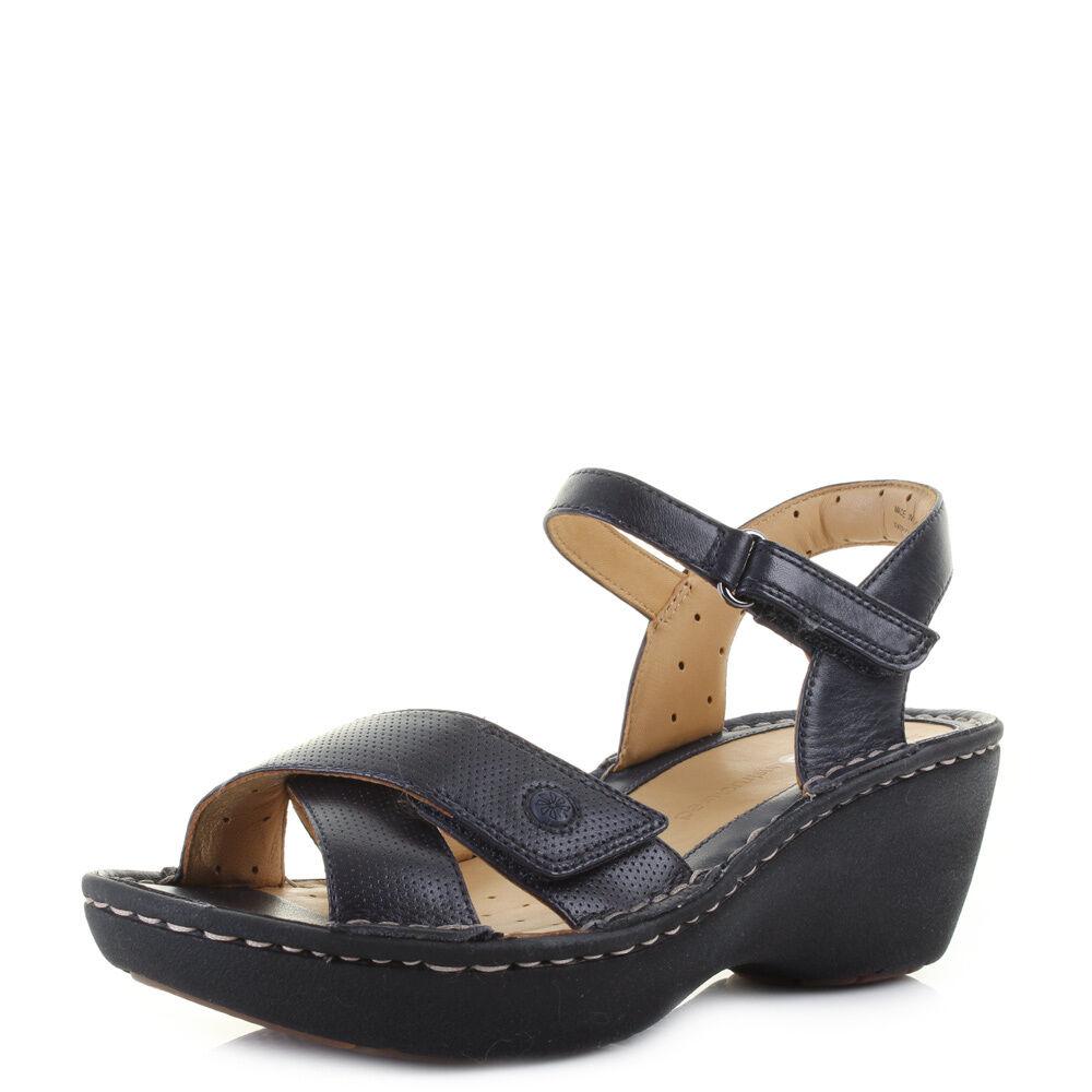 Para Mujer Clarks un a Dima Azul Marino Cuero Medio Sandalias Tamaño D Ancho Talla