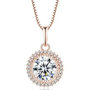 Woman-Lab-Diamond-Round-Cut-3-0-ct-White-Gold-amp-Rose-Gold-Filled-Halo-Necklace