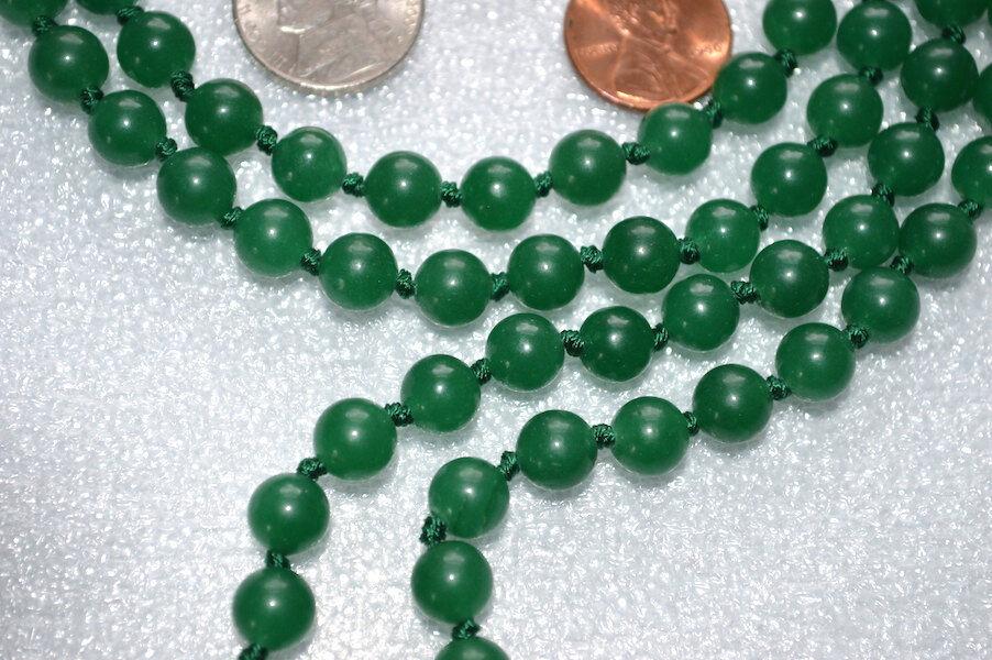 Green Jade & Carnelian Hand Knotted Mala Beads Nec