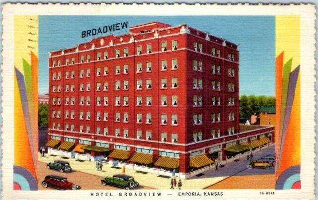 Emporia, Kansas Postcard HOTEL BROADVIEW Street View Curteich Deckled Linen 1933