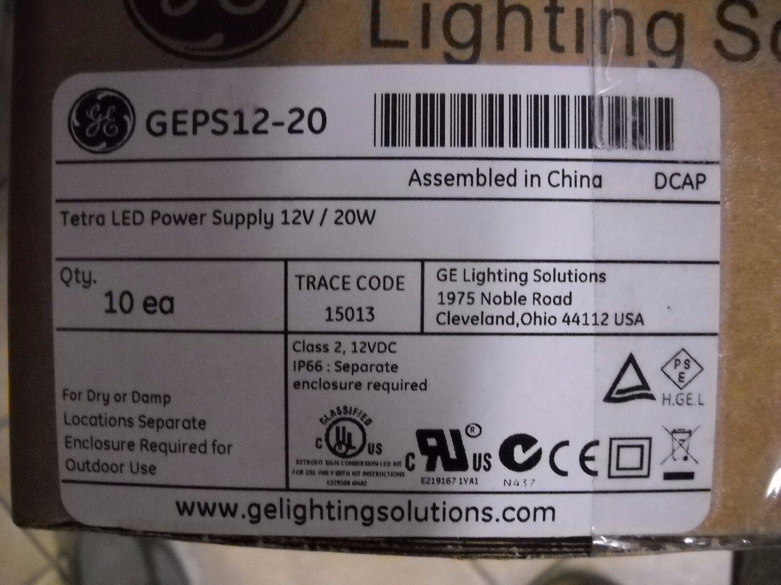 GEPS12-20 Tetra Led Power Supply 12V   20W  Full Case Of 10