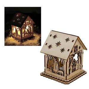 Illuminé Crèche De Noël En Bois Noël Décoration Crèche Led Lumiere