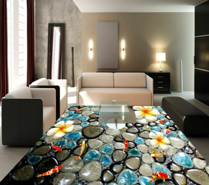 3D Flor Azul Piedra Papel Pintado Mural Parojo Calcomanía de impresión de piso 5D AJ Wallpaper
