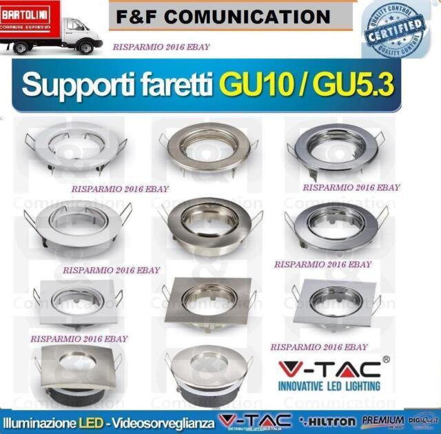 Porta Faretto ORIENTABILE da Incasso Lampadine LED PortafarettI GU10 GU5.3 COB