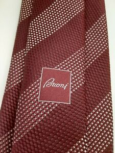 Recent-BRIONI-Handmade-in-Italy-Silk-men-039-s-striped-tie