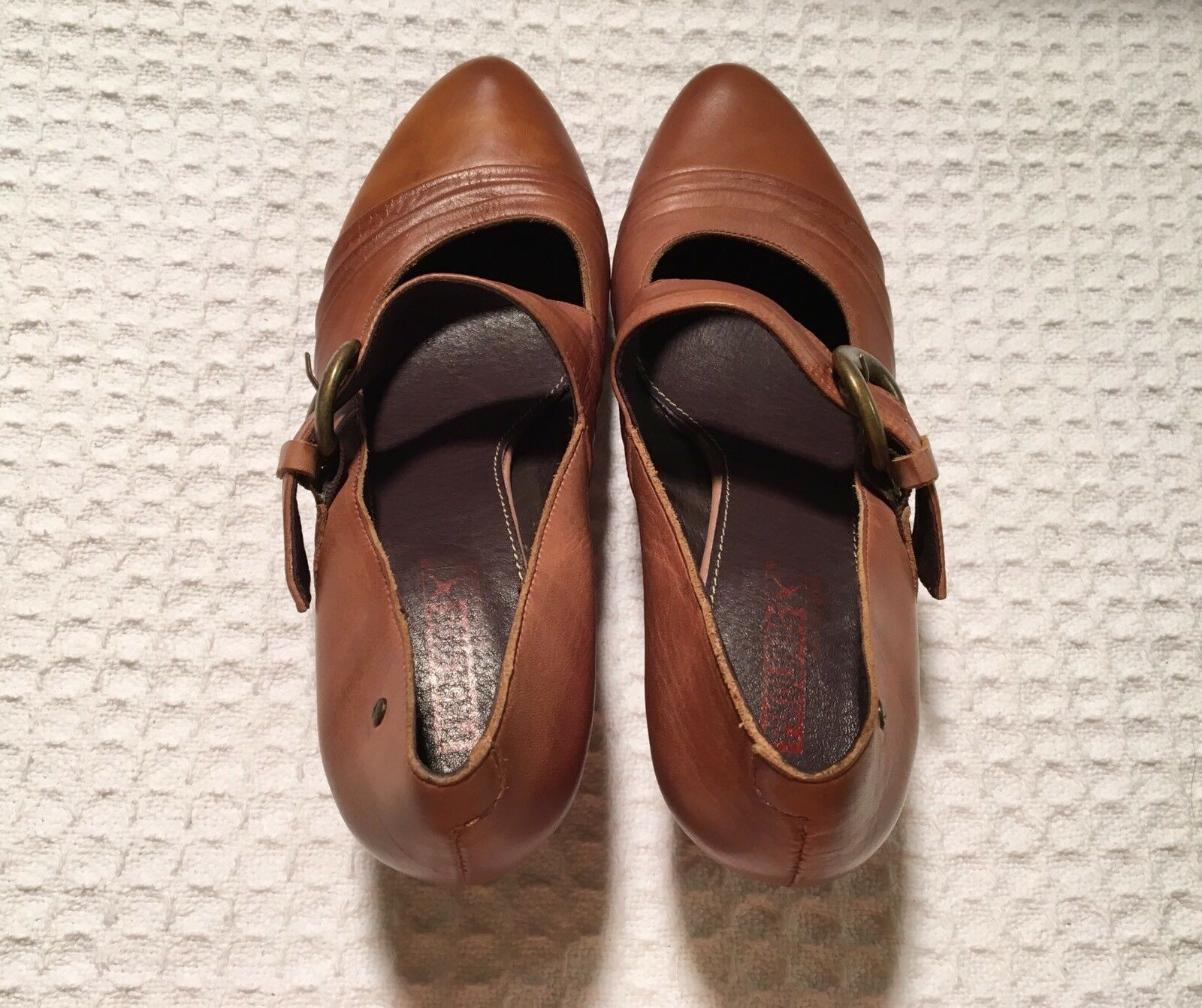 PIKOLINOS Ginebra Avellana Pleated Leather Leather Leather Mary Janes Wedge Heels 42   11.5 12 a5b52d