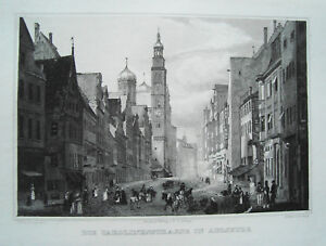 Augsburg-Carolinenstrasse-Karolinenstrasse-Bayern-echter-alter-Stahlstich-1840
