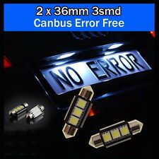 2PCS 3 SMD LED 36mm 239 272 CANBUS NO ERROR XENON WHITE NUMBER PLATE LIGHT BULB