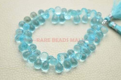 Sky Blue Quartz Faceted Teardrop Shape Briolettes 8-10 MM 7 Inch Strand