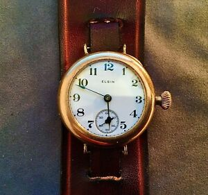 ELGIN-Military-Style-Wristwatch-Gold-Filled-Case-Wire-Lugs