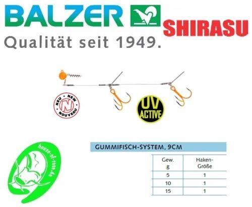 Balzer Shirasu Hecht Gummifisch System UV Screw Jighead Schleppfischen Angeln