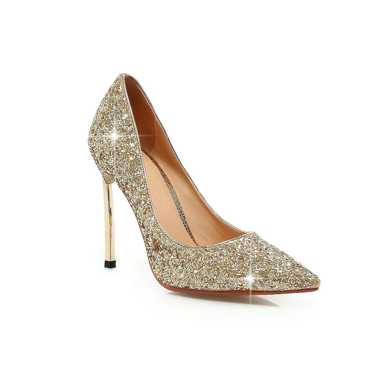Fashion Womens Bling Pumps Pointy Toe Slip On High Stilettos Casual Party shoes