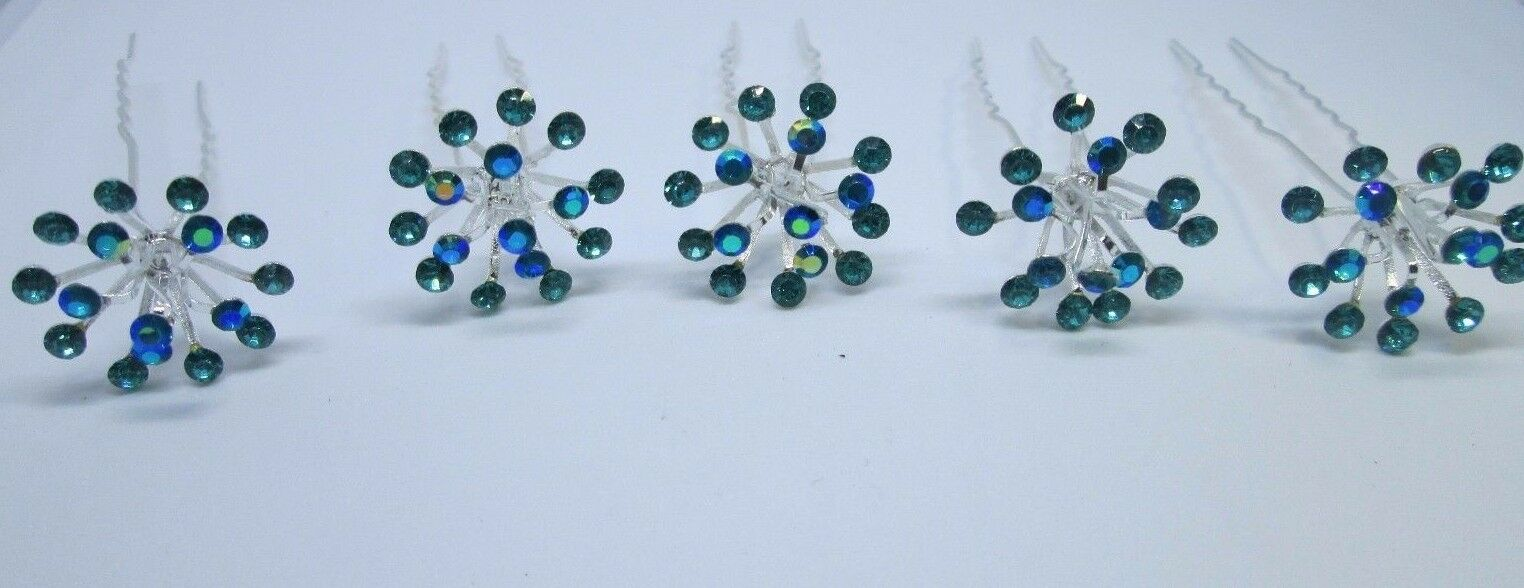 New Bridal Hair Pins Crystal Diamante Pearls Bridal Clips Grips Premium flowery