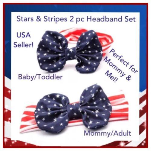 NIP 2 Pc SET USA Flag Stars Stripes Patriotic Bow Stretch Headband Mommy and Me