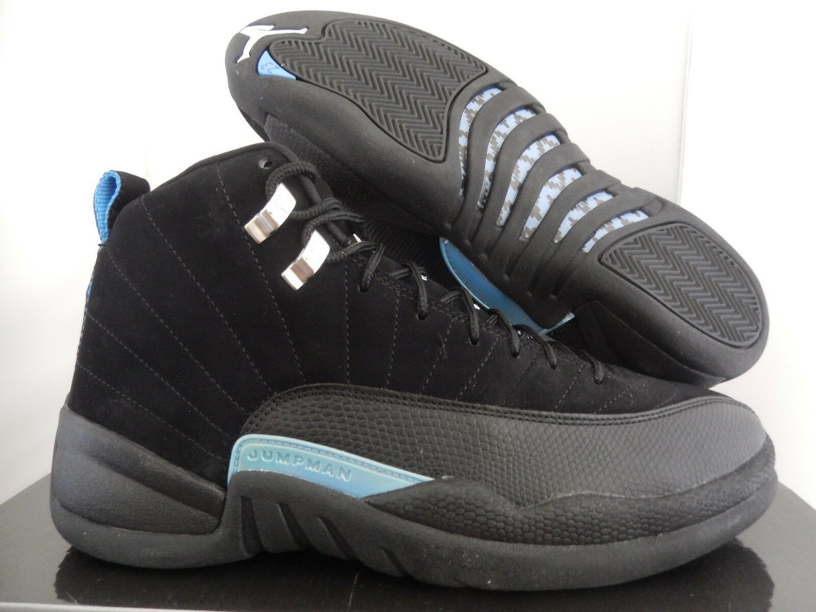 Nike air jordan 12 'nabuk nero-white-university blu sz 9 [130690-018]
