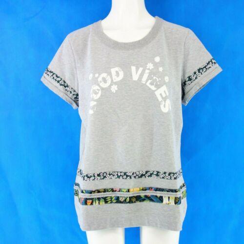 MARC CAIN Damen Shirt GS4832 Gr N3 N4 38 40 Grau Geblümte Streifen NP 129 NEU