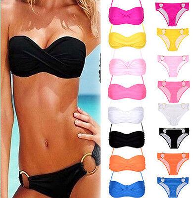 Sexy Womens Push-up Padded Bandeau Top + Bottom Bikini Swimwear Beach Swimsuit
