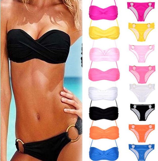 Sexy Womens Push-up Padded Bandeau Top and Bottom Bikini Swimwear Beach Swimsuit