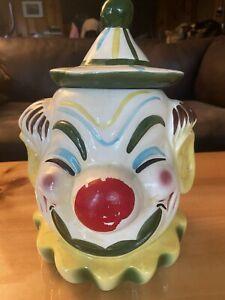 Vtg 1950's Sierra Vista California Pottery Clown Cookie Jar