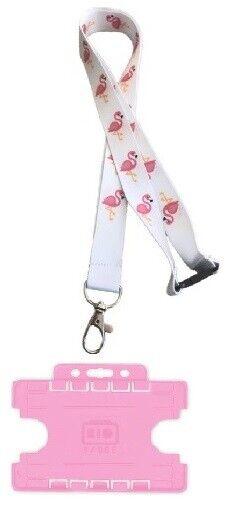 Flamingo Bird Lanyard Avec Sécurité Breakaway & Assorti Rose Double Porte-carte Les Clients D'Abord