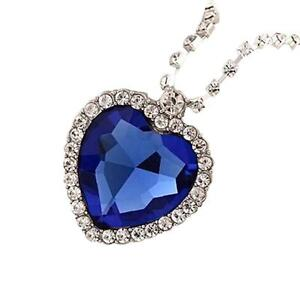 Chic blue crystal heart of ocean bling titanic diamond chain image is loading chic blue crystal heart of ocean bling titanic aloadofball Image collections