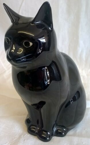 "ANIMAL FIGURINE MODEL ORNAMENT QUAIL CERAMIC 6/"" MODEL BLACK CAT FIGURE LUCKY"