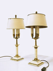 Pair Of Tall Bouillotte Table Lamps Three Light Tole Shades 19th C