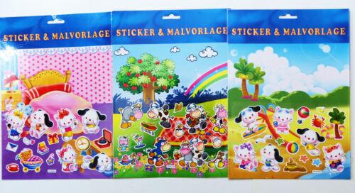 3 Sticker /& Malvorlagen  Malen  Stickerbogen Mitgebsel Malbogen Malvorlage