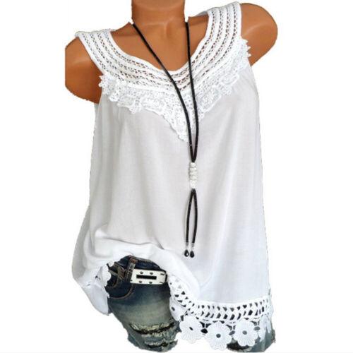 Summer Women/'s Lace Loose Sleeveless Vest T Shirt Blouse Boho Tank Top Plus Size
