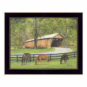 034-Old-Covered-Bridge-034-By-Ed-Wargo-Printed-Wall-Art-Ready-To-Hang-Framed-Post